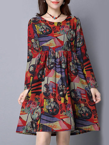 Casual Abstract Print Round Neck Pocket Skater Dress