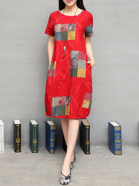 Round Neck Pocket Printed Loose Sack Shift Dress - Bychicstyle.com