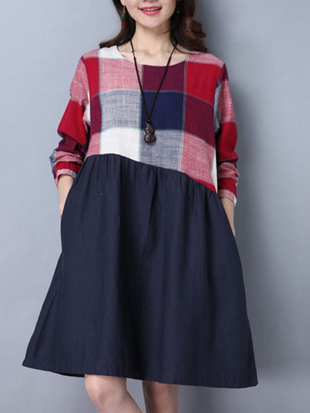 Round Neck Pocket Color Block Plaid Skater Dress - Bychicstyle.com