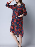 ByChicStyle High-Low Round Neck Patch Pocket Shift Dress In Floral Printed - Bychicstyle.com