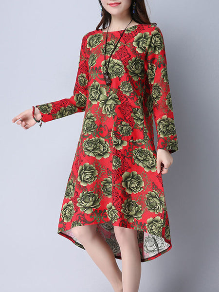 High-Low Round Neck Patch Pocket Shift Dress In Floral Printed - Bychicstyle.com