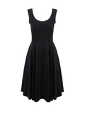 ByChicStyle Round Neck Sleeveless Solid Skater Dress In Black - Bychicstyle.com