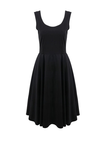 Round Neck Sleeveless Solid Skater Dress In Black - Bychicstyle.com