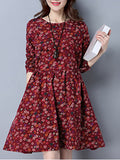 ByChicStyle Lovely Round Neck Tiny Flower Printed Skater Dress - Bychicstyle.com