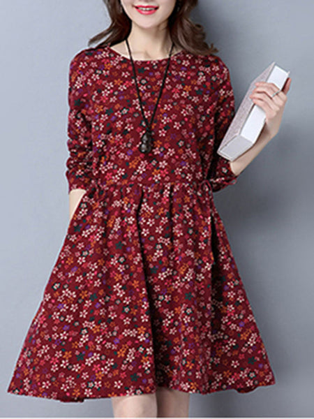 Lovely Round Neck Tiny Flower Printed Skater Dress - Bychicstyle.com