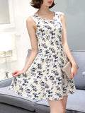 ByChicStyle Casual Cute Round Neck Tiny Flower Printed Skater Dress - Bychicstyle.com