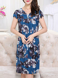 ByChicStyle Patch Pocket Floral Printed Midi V-Neck Shift Dress - Bychicstyle.com