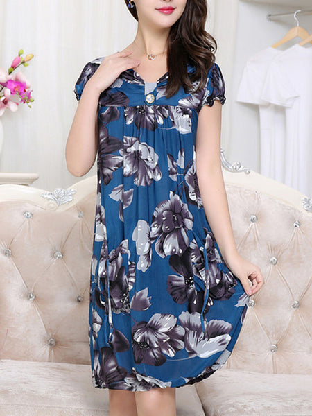 Patch Pocket Floral Printed Midi V-Neck Shift Dress - Bychicstyle.com