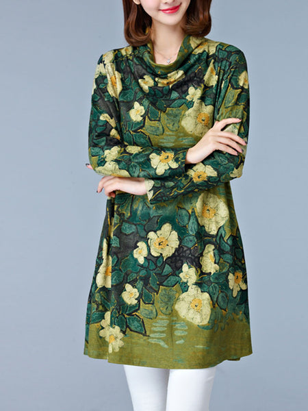 Cowl Neck Floral Printed Shift Dress - Bychicstyle.com