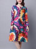ByChicStyle Round Neck Pocket Multi-Color Printed Shift Dress - Bychicstyle.com