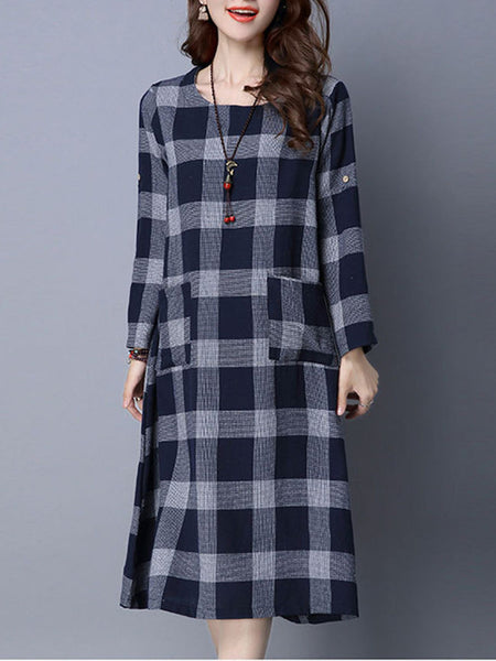 Round Neck Patch Pocket Plaid Shift Dress - Bychicstyle.com