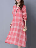 ByChicStyle Round Neck Patch Pocket Plaid Shift Dress - Bychicstyle.com