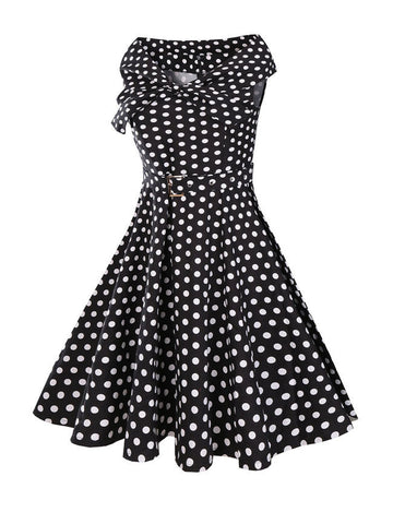 Classic Black White V-Neck Polka Dot Skater Dress - Bychicstyle.com