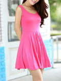 ByChicStyle Casual Basic Plain Modal Skater Dress