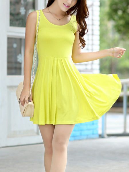 Casual Basic Plain Modal Skater Dress