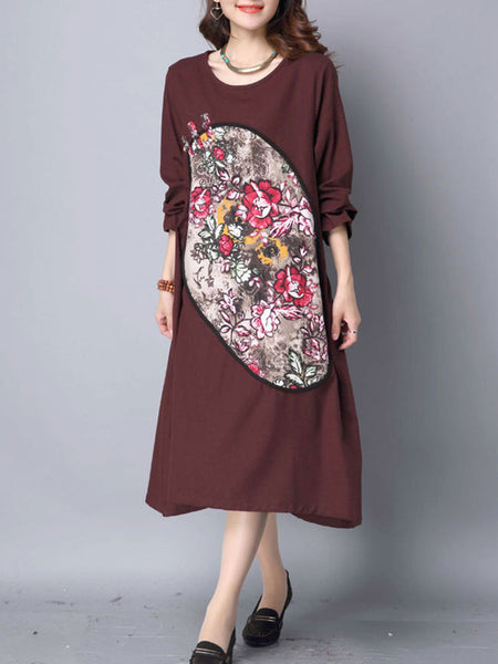 Round Neck Printed Cotton/Linen Maxi Dress With Slit Pocket - Bychicstyle.com