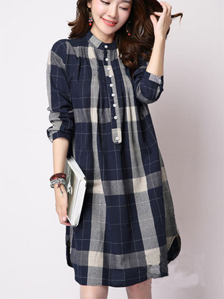 Casual Band Collar Plaid Classic Shift Dress