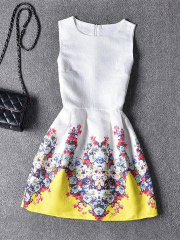 Casual Attractive Floral Printed Round Neck Skater Dress