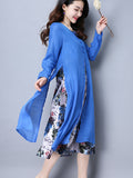 ByChicStyle Round Neck Printed Double Layer Cotton/Linen Maxi Dress - Bychicstyle.com