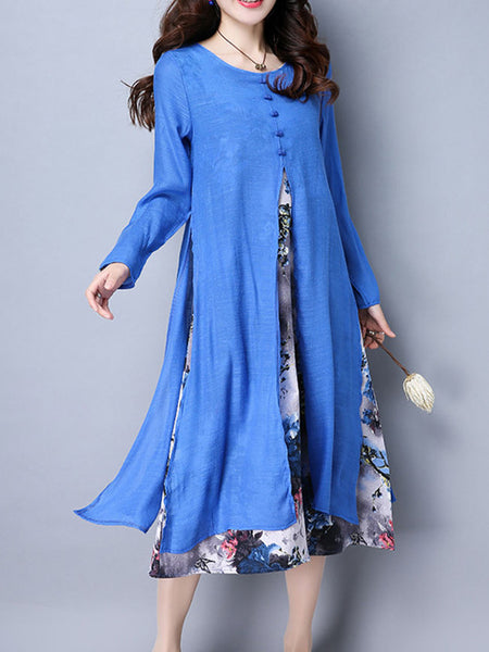 Round Neck Printed Double Layer Cotton/Linen Maxi Dress - Bychicstyle.com