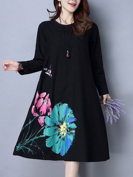 Casual Big Flower Printed Round Neck Maxi Dress
