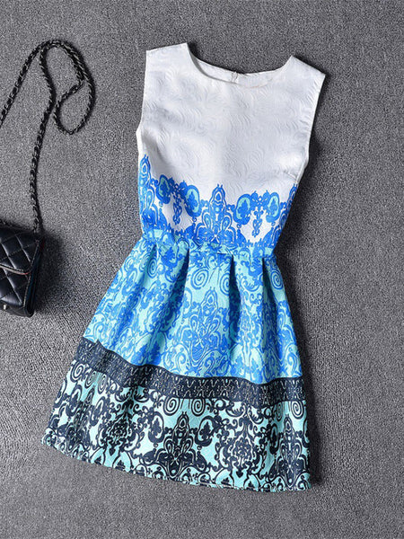Round Neck Fascinating Printed Skater Dress - Bychicstyle.com
