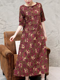 ByChicStyle Round Neck Printed Loose Maxi Dress With Half Sleeve - Bychicstyle.com