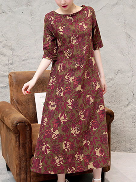Round Neck Printed Loose Maxi Dress With Half Sleeve - Bychicstyle.com