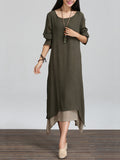 ByChicStyle Casual Asymmetric Hem Color Block Double Layer Maxi Dress