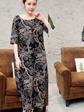 ByChicStyle Round Neck Printed Sack Maxi Dress - Bychicstyle.com