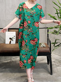 ByChicStyle Casual V-Neck Floral Printed Maxi Dress
