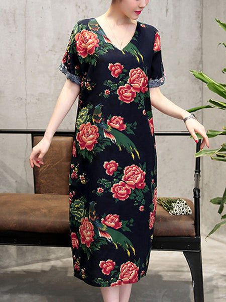 Casual V-Neck Floral Printed Maxi Dress