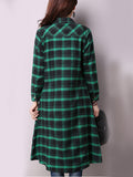 ByChicStyle Turn Down Collar Slit Pocket Plaid Shirt Maxi Dress - Bychicstyle.com