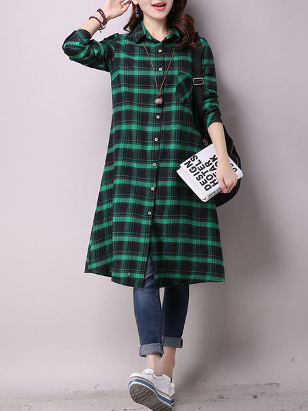 Turn Down Collar Slit Pocket Plaid Shirt Maxi Dress - Bychicstyle.com