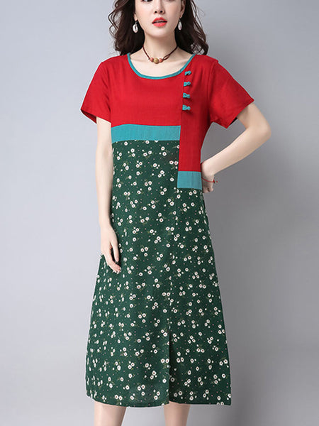 Color Block Tiny Flower Printed Maxi Dress - Bychicstyle.com