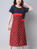 ByChicStyle Color Block Tiny Flower Printed Maxi Dress - Bychicstyle.com