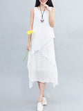 ByChicStyle Round Neck Plain Delightful Swing Double Layer Shift Dress - Bychicstyle.com