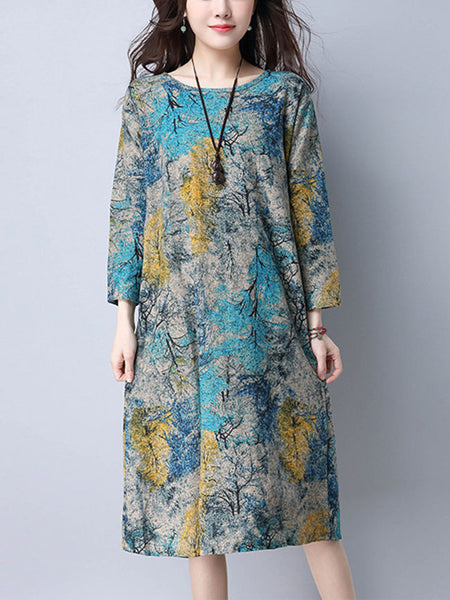 Casual Round Neck Allover Tree Printed Shift Dress