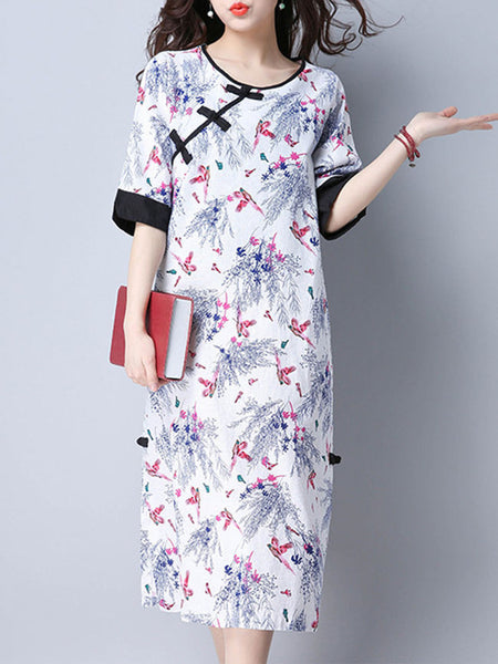 Round Neck Slit Pocket Printed Maxi Dress With Half Sleeve - Bychicstyle.com