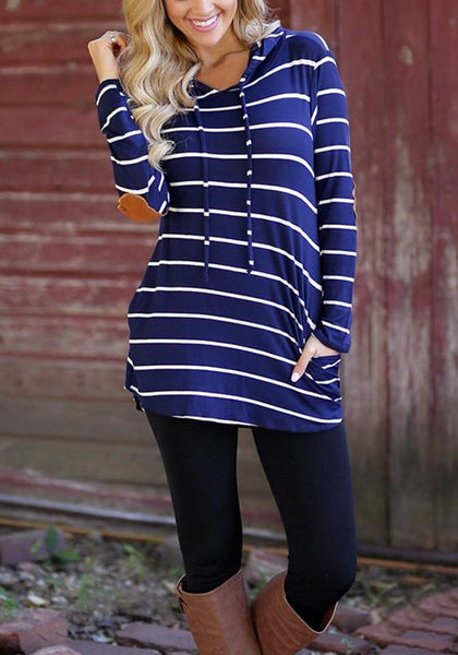Sapphire Blue Striped Drawstring Pockets Long Sleeve Cowl Neck Casual Hooded Sweatshirt