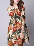 ByChicStyle Split Neck Floral Printed Loose Shift Dress - Bychicstyle.com