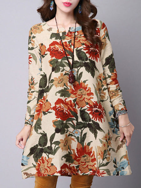 Split Neck Floral Printed Loose Shift Dress - Bychicstyle.com