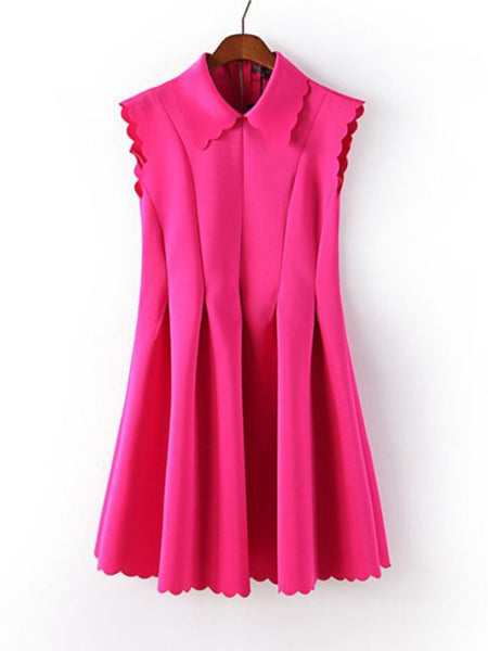 Turn Down Collar Plain Polyester Skater Dress - Bychicstyle.com