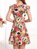 ByChicStyle Casual Attractive Cowl Neck Floral Printed Skater Dress