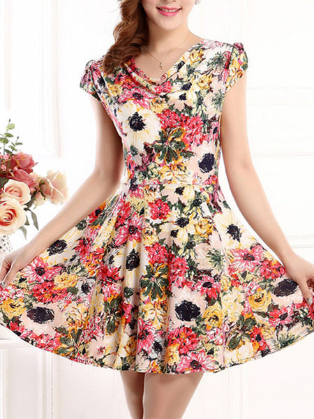 Casual Attractive Cowl Neck Floral Printed Skater Dress