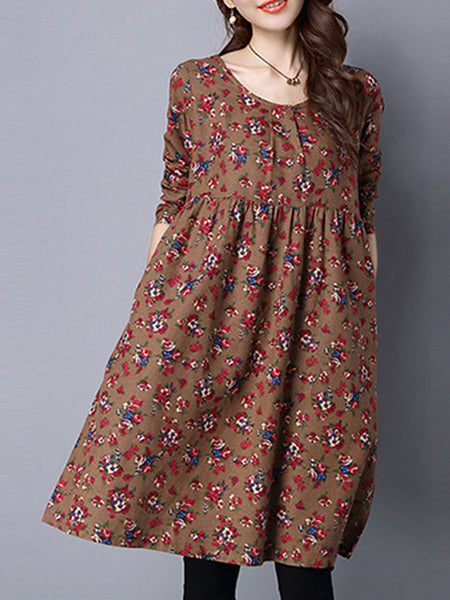 Round Neck Floral Cotton Shift Dress - Bychicstyle.com