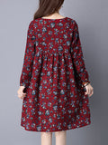 ByChicStyle Round Neck Floral Cotton Shift Dress - Bychicstyle.com