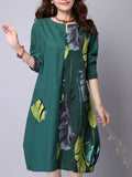 ByChicStyle Leaf Printed Patchwork Cotton Shift Dress - Bychicstyle.com