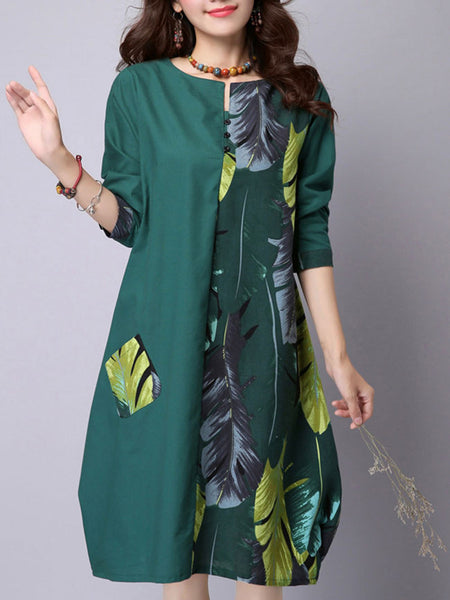 Leaf Printed Patchwork Cotton Shift Dress - Bychicstyle.com
