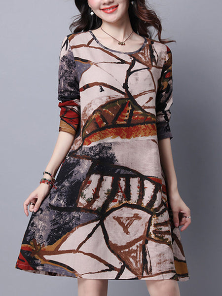 Casual Round Neck Abstract Printed Cotton Shift Dress